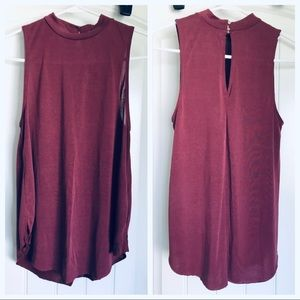 High-neck maroon tank